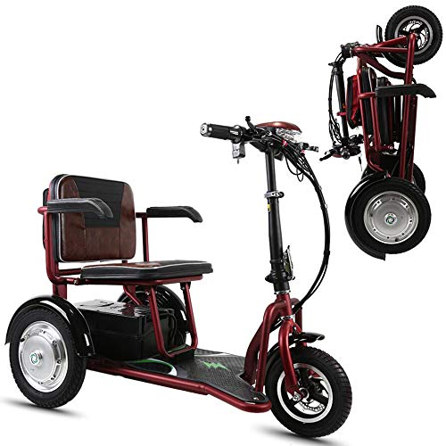 Erpang Folding Elektro-Dreirad, kann Outdoor-Freizeit-Roller 48V12AH Lithiumbatterie Faltbare Mini Reiten Dreirad Portable verlängert Werden,Rot,20A