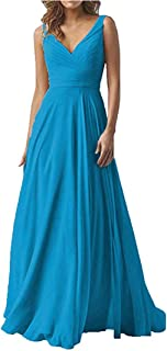 Jonlyc V Neck Sleeveless A Line Formal Dress Chiffon Bridesmaid Dress Long