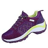 Culater Zapatillas Mujer Malla al Aire Libre Zapatos con Cordones Cómodos para Correr(41,Púrpura)