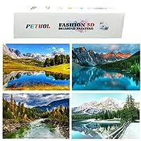 5D ダイヤモンド絵画キット 4パック フルドリル ラインストーン 風景画 ホームウォールデコ用