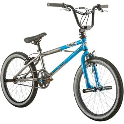 """20"""" Mongoose Mode 100 Boys' Steel Freestyle BMX Bike with 4 Wheel Pegs for Stunts & Tricks To Perform in the Neighborhood, Blue/Gray"""