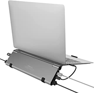 XSOUL Laptop Stand, with 6 in 1 USB C Hub, Aluminum Foldable Adjustable Portable Laptop Holder with USB C Adapter, 4K HDM...