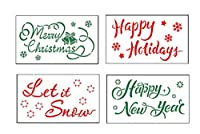 Floranea クリスマスステンシルテンプレート ペイント用 再利用可能 プラスチック装飾 アートクラフト 図面 スプレー 窓 ガラス ドア 壁 布 キャンバス メリークリスマス ハッピーニューイヤー 表現