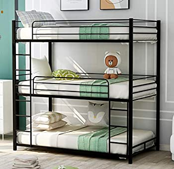 Triple Bunk Beds Twin Over Twin Over Twin Metal Bunk Bed for Kids Teens Adults Girls Boys Black