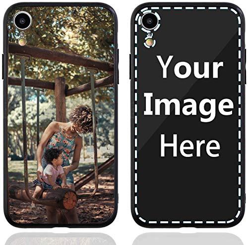 TropSetil - Carcasa personalizada para iPhone XR, diseño de foto/texto/logotipo, funda de cristal antiarañazos, crea tus propias fundas para teléfono fotográfico.
