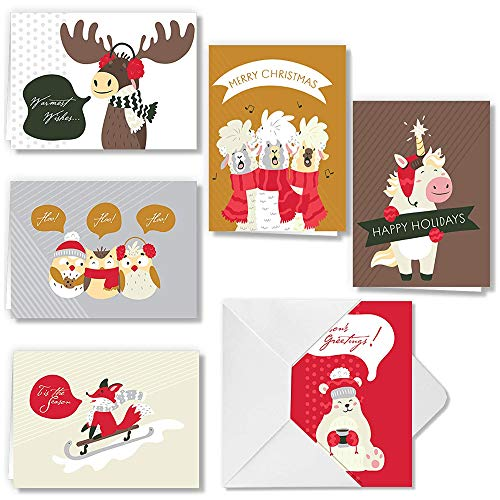 72 Piece Cute Animal Wintertime Greeting Cards Collection with 6 Unique Festive Designs & Envelopes for Winter Christmas Season, Holiday Gift Giving, Xmas Gifts Cards.