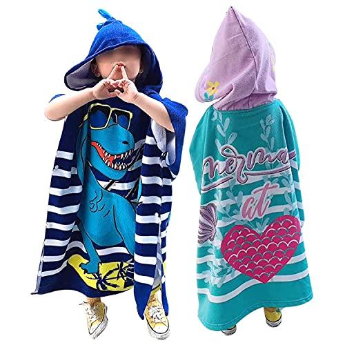 HGYJ 2 Piezas Poncho de Toalla para Cambiador de con Capucha, Poncho para Bata de baño espesante de Microfibra para niños, para Playa/natación/Surf, Apto para niños de 100-150 cm,Blue+Green