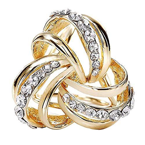 CAREOR Elegante Diseño Moderno Simple Mujer Triple Anillo Diamante Metálico...