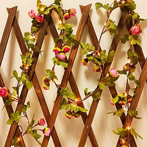 Guirnalda de rosas artificiales de 2 metros y 20 LED de hojas de flores, funciona con pilas, cadena de luces LED, color rosa