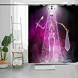 Day of the Dead Sugar Skulls Duschvorhang, dekorativer Duschvorhang, buntes Bohemian-Muster mit Totenköpfen, 182,9 x 182,9 cm, wasserdicht, Badezimmer-Duschvorhang-Set mit Haken (Band 4)