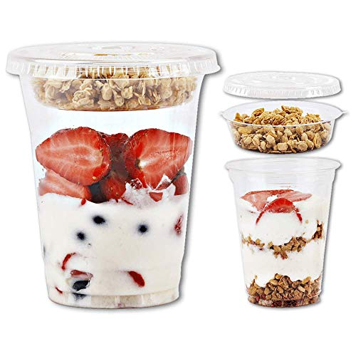 12oz Clear Plastic Parfait Cups with Insert 3.25oz & Flat Lids No Hole - (50 Sets) Yogurt Fruit Parfait Cups for Kids, for Dips and Veggies, Take Away Breakfast and Snacks. No Leaking