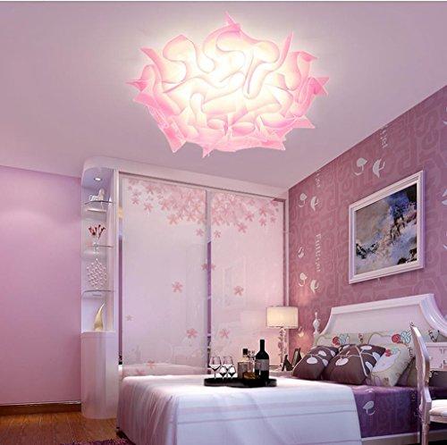 Lily's-uk Love Lumière de plafond lumière de chambre moderne simple créatif en forme de fleur conduit chaleureux salle de mariage romantique lumières lumières de chambre d'enfants - rose