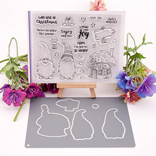 Hacloser Cutting Dies Stencil Template + Clear Rubber Stamps for Card Making Embossing Photo DIY Festival Invitation Christmas Children Birthday Gift Card (Cutting Dies + Clear Stamp Seal)