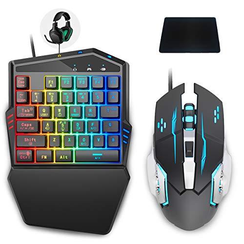 Tastatur und Maus Combo Set Adapter für PS4/Switch/Xbox One, IFYOO KMAX2 Plus Spielkonsole Wired Konverter Kompatibel mit Fortnitee/PUBGG/Rainbow Six Siege und anderen FPS Shooting Games