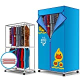 Portable Electric Clothes Dryer Folding Clothing Heater Indoors Fast Air Dry Hot Drying Rack Machine 900W 2-Tier Warm Air Drying Wardrobe Automatic Timer for Home & Dorms