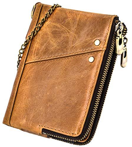 AngelFigure 二つ折り財布 メンズ 本革 大容量 カード13枚収納可 コンパクト財布 二重ファスナー (キャメル)