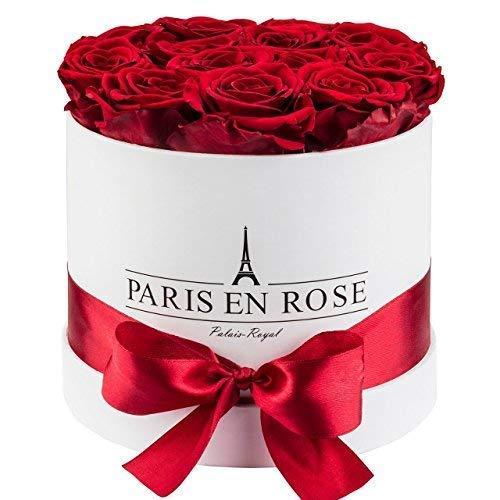 PARIS EN ROSE Rosenbox Palais-Royal Classic   3 Jahre haltbar   Weiße Rosenbox mit bordeauxroten Infinity Rosen   Flowerbox mit 13-15 konservierten Blumen
