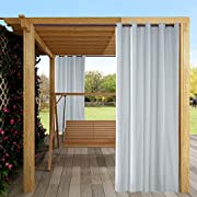 """Outdoor Curtain Garden Patio Gazebo Sunscreen Blackout Curtains, Thermal Insulated White Curtains with Grommet 