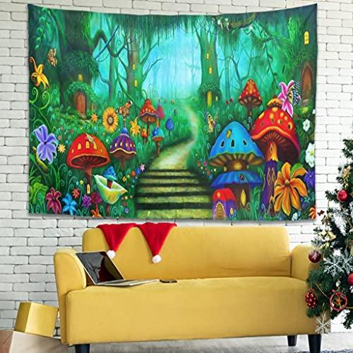 Buweirezhi Tapiz de pared con diseño de jardín psicodélico, ligero, para colgar en la pared, para dormitorio o habitación, color blanco, 150 x 150 cm