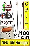 5 x GRILLSPIESS !!! MIT REINIGER-BÜRSTE !!! RIESEN-LANGE 100 cm Grillspieße mit Gabel, Gabelspieß...