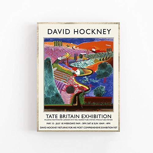 Póster de la exposición de David Hockney - Impresión de calidad suprema - Cañón de Nichols - Arte de pared Pintura decorativa en lienzo sin marco Q-7 30x40cm