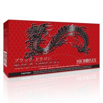Small - Black Dragon Powder-Free Black Latex Examination Gloves, Microflex