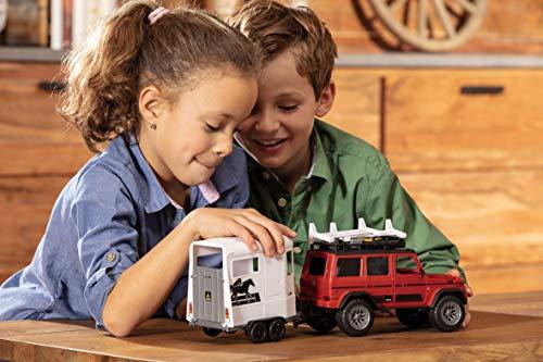Dickie Toys 203838002 - Playlife Horse Trailer Set, Mercedes Benz AMG Geländewagen mit Pferdeanhänger + Figuren, 40 cm