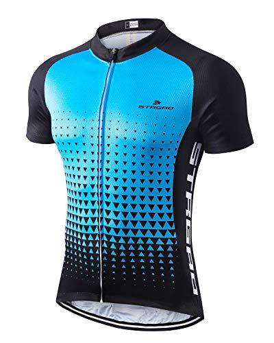 MR Strgao Men's Cycling Jersey Bike Short Sleeve Shirt Size L Sky Blue