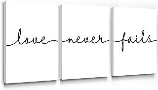 SUMGAR Inspirational Wall Art Cuadro con cita en blanco y negro minimalista con texto en inglés enmarcado para decoración del hogar sala de estar dormitorio baño 30x40cm 3 paneles Love Never Fails