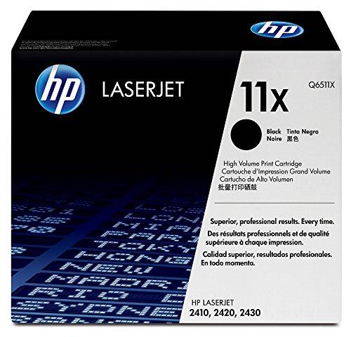 HP 11X - Cartucho de tóner original LaserJet de alta capacidad para Laserjet series 2410, 2420 y 2430, color negro