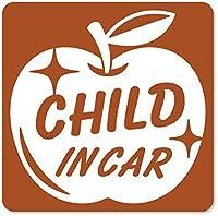imoninn CHILD in car ステッカー 【マグネットタイプ】 No.63 リンゴ (茶色)