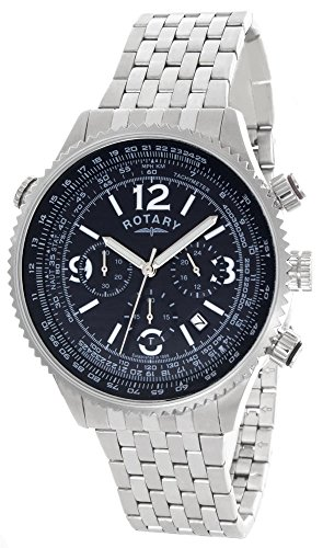 Rotary Men's Black Dial Stainless Steel Bracelet Chronograph Watch GB00323/05/L