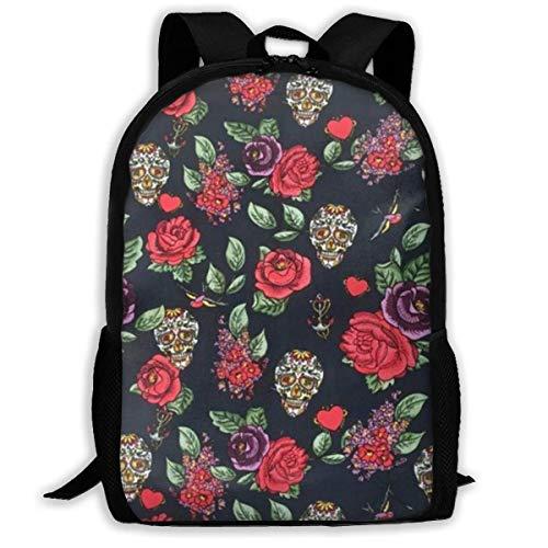 Suiker schedels rozen liefde harten rugzakken, grote capaciteit boekentas reizen wandelen tas & dag pak, school Daypack rugzak casual Daypack klimmen schoudertas laptop boek tas rugzak