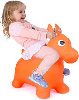 Bouncy Horse for Toddlers, Baby Bouncer Rocking, Bouncing Hopper Animals, Kids/Infant Riding Sit and Spin Toys Girl Boy, Christmas Farm Hopping/Hoppity Hop Balls (Orange)