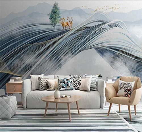 Pink world Wandbild Abstrakte dreidimensionale Tinte Landschaft Landschaft Elch Hintergrund Wanddekoration Painti Wallpaper-Über 400 * 280 cm