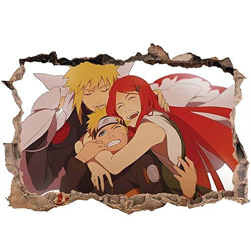 3D Pegatinas de Pared Anime Naruto Uzumaki Vinilos Decorativos de Ventanas rotas Pegatinas de Pared 80x120cm-B_40*60CM