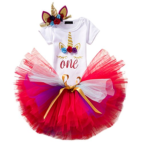 Newborn Baby Girls Unicorn One Year 1st Birthday Outfit Cake Smash Clothes set Letter Print Shiny Sequin Romper Short Sleeve Bodysuit Jumpsuit Rainbow Tulle Tutu Skirt Gold Glitter Horn Headband Photo