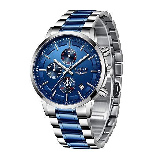 LIGE Herren Uhren Wasserdicht Chronograph Blau Edelstahl Armbanduhr Männer Militär Sport Kalender Analog Quarz Uhr …