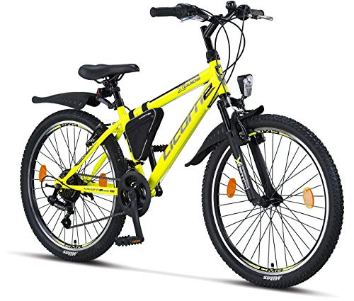 Licorne Bike Premium - Bicicleta de montaña para niña, niño, hombre y mujer, cambios de 21 velocidades, Unisex adulto, amarillo/negro, 24