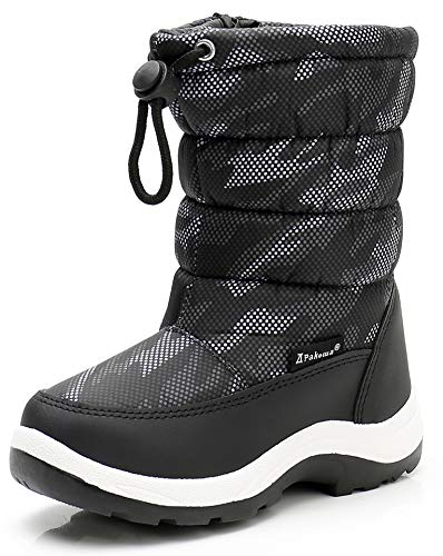 Apakowa New Kids Boys Cold Weather Snow Boots (Toddler/Little Kid) (Color : Grey/black, Size : 9 M US Toddler)