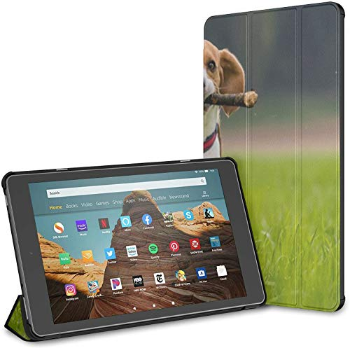 Case Cover Compatible with 10.1' Amazon Fire HD 10 Tablet (9th / 7th Generation, 2019/2017 Release),Dog Beagle Stick On Green Field