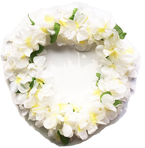 LITTLE FEATHER ハワイレイ白花 ネックレス ハワイ花輪 フラダンスや結婚式やパーティーなどにも飾り