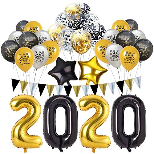 Set de Globos de año Nuevo 2020 Happy New Year Balloons Kit Latex Pentagram Balloons for Happy New Year Eve Party Decorations Supplies Black and Golden Hotel KTV Birthday Party Party Decor