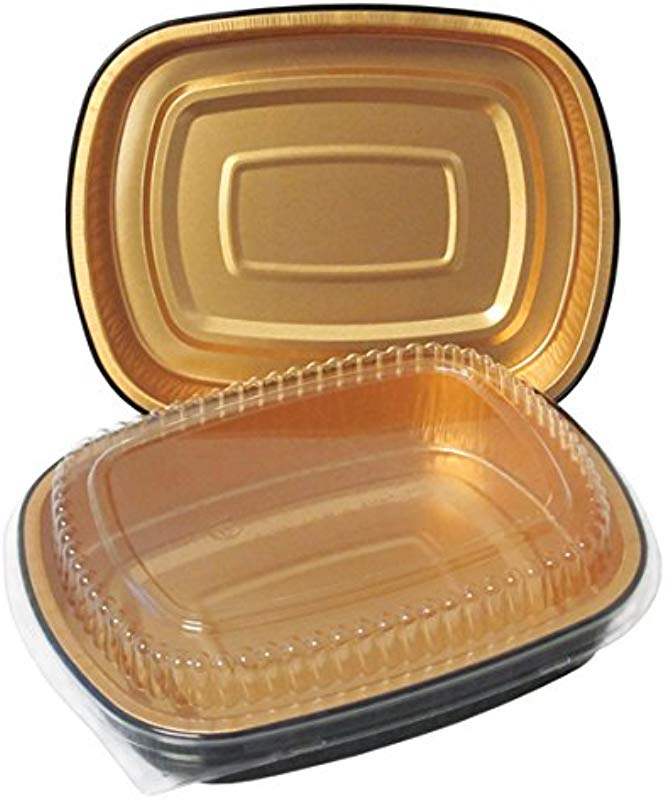 Durable Packaging Black And Gold Pan With Lid Medium Pack Of 50