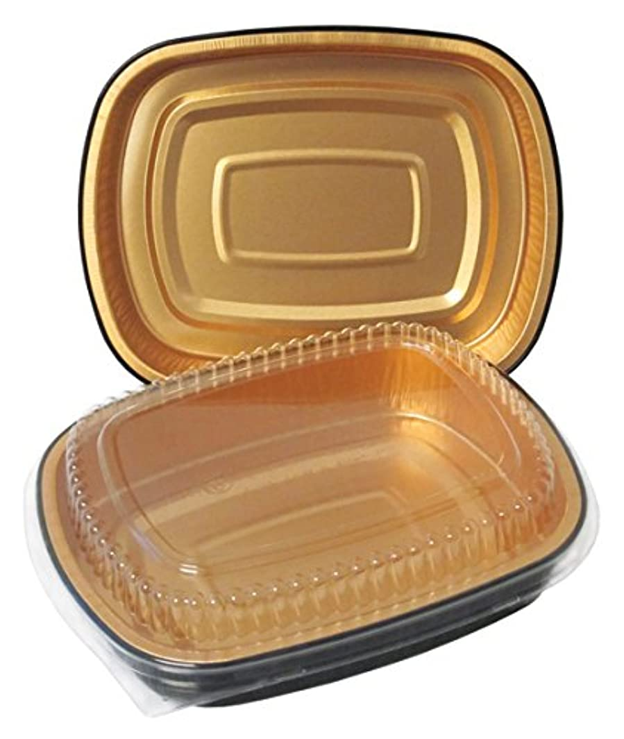 Durable Packaging Black and Gold Pan with Lid, Medium (Pack of 50)
