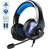 YINSAN Gaming Headset PS4 Headset, PS4 Headset Soround Stereo Gaming Headphones with Mic & LED Light, Over-Ear Soft Memory Earmuff, Compatible with PC/PS4/Xbox One/Switch, Blue