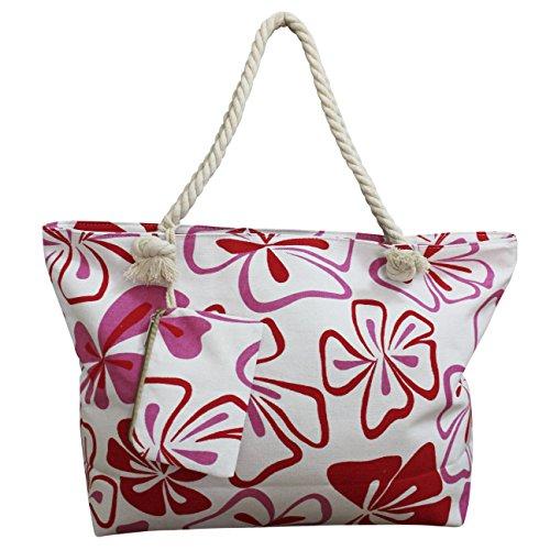 FERETI Strandtasche Rot Hawaiianischen Blumen Blüten Hibiskus Tasche Hawaii Tropical Weiße Seil Große