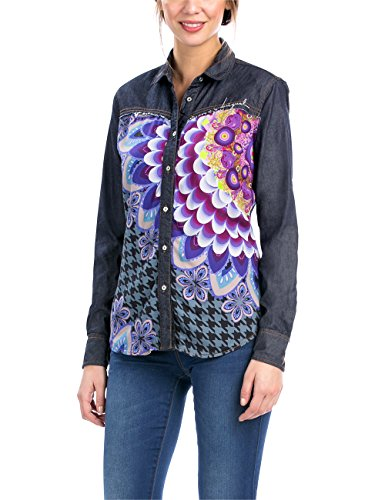 Desigual CAM_PAÑUELOS Chemises, Bleu (Navy), FR: 40 (Taille Fabricant: M) Femme