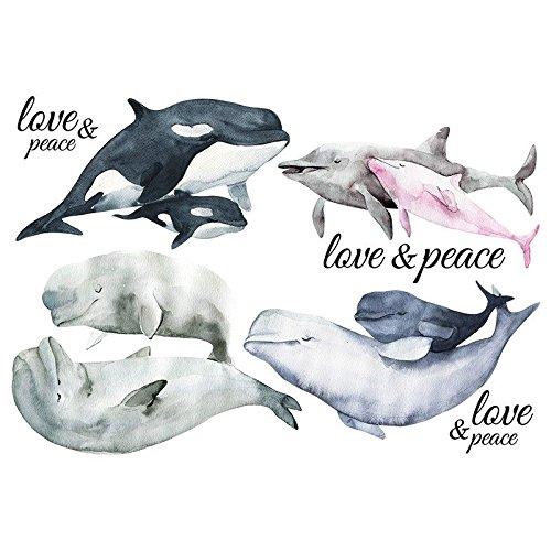 Transferencia de planchado a color, DIN A4, ballenas y delfines, decoración de textiles como camisetas y bolsos con motivos de planchado, imágenes rápida y fácil, diseño textil DIY