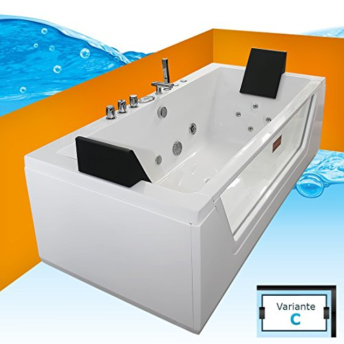AcquaVapore Whirlpool Pool Badewanne Wanne A1813NC mit Reinigungsfunktion 185x90, Selfclean:aktive Schlauch-Reinigung +70.-EUR